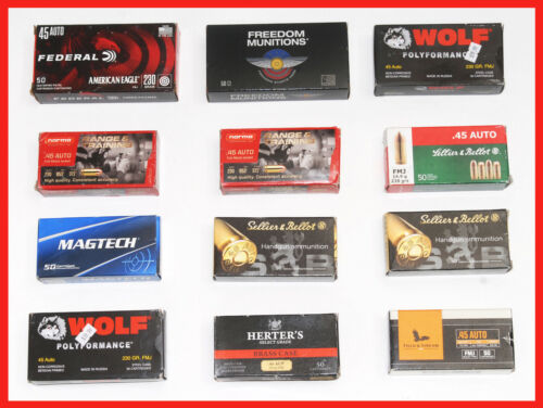 12 - Assorted Empty 45 ACP AUTO CAL.  Ammo / Carteridge Boxes With Trays .45