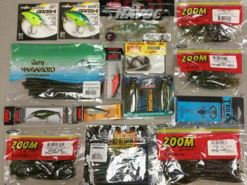 NEW Fishing Tackle Assortment Grab Box $100 Variety Lures,Soft Plastics, Hooks,