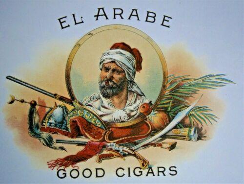 """EL ARABE - GOOD CIGARS"" Inner Lid Cigar Box Label, form early 1900"
