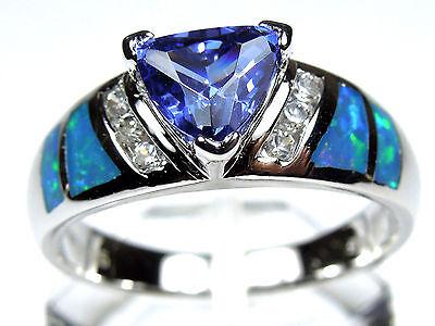 Trillion Tanzanite & Blue Fire Opal Inlay 925 Sterling Silver Ring Size 6,7,8,9 Blue Opal Inlay Ring