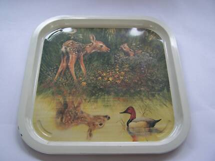 Retro  1970's LARGE Square Willow Tray Dear  Duck  Squirrel Wynyard Waratah Area Preview