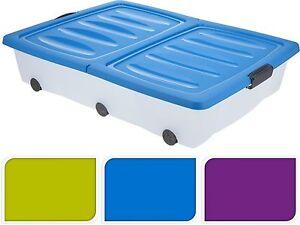 55l grande debajo de la cama pl stico con ruedas caja for Cajas bajo cama carrefour