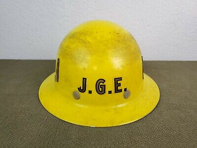 Vintage Super Glas Fibremetal Yellow Full Brim Hard Hat