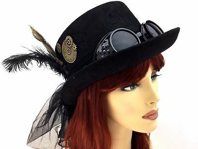Hat With Goggles (Quality Women Steampunk Top Hat with Feather veil coins Removable)