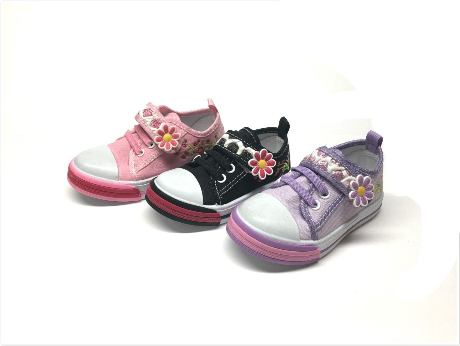 New Infant/Toddler Girls Embroidered Canvas Tennis Shoes 6 ~ 11