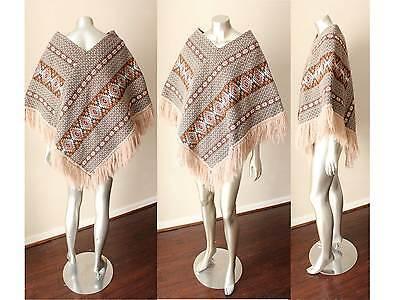 Southwestern Aztec Hand Knit Artisan Fringe Poncho Cape Sweater Ecuador S - M