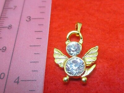 14 KT GOLD EP BIRTHSTONE APRIL CLEAR CRYSTAL CAT ANGEL CHARM PENDANT