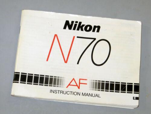 Nikon N70 AF Instruction Manual & Date/Time Man for Data Back 35mm Film Camera