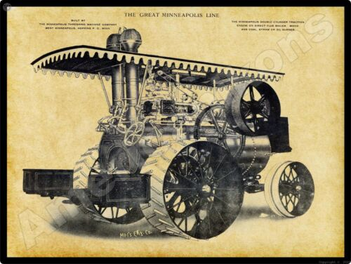 Minneapolis Threshing Machine Co New Metal Sign: Double Cylinder Traction Engine
