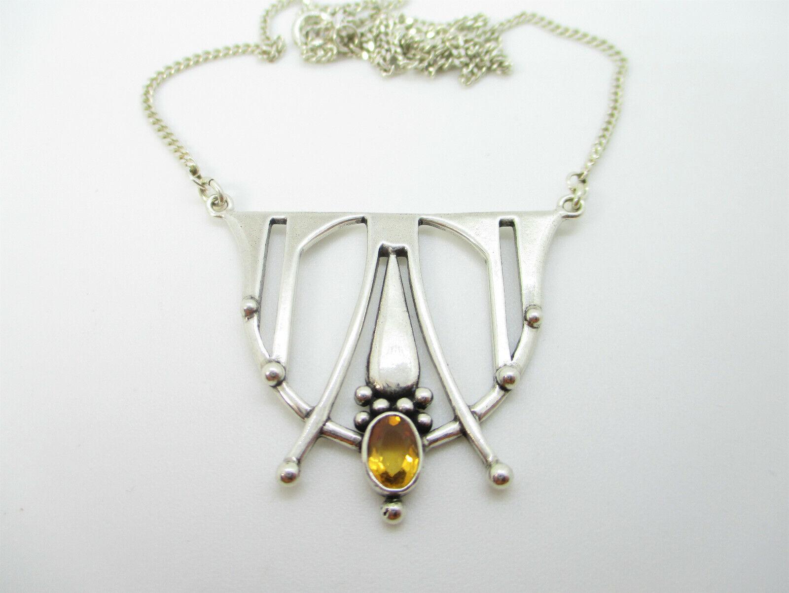 Designer Collier 925 Sterling Silber Kette Jugendstil Stil Halskette Citrin
