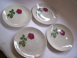 J & G Meakin Serenade Red Rose Dinner Plate x 4 Plates CAN POST Wynyard Waratah Area Preview