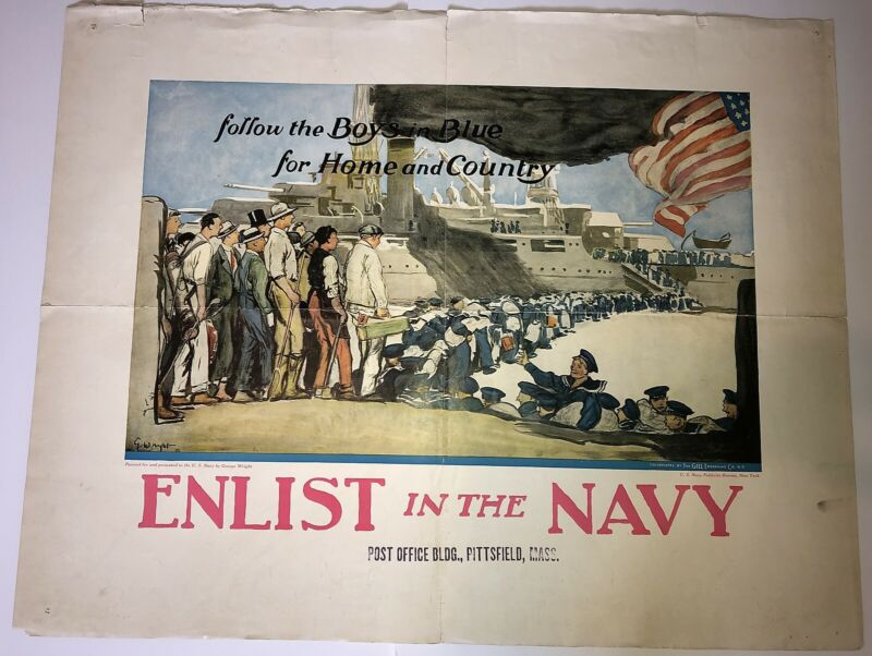 Original WWI US Navy Recruiting Poster Follow the Boys in Blue by George Wright
