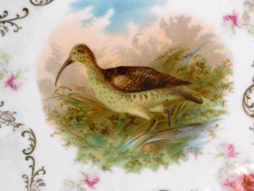 """Antique Game Bird Plate Gold Floral Pink Roses Edge Scalloped PM Bavaria 9"""" RARE"""