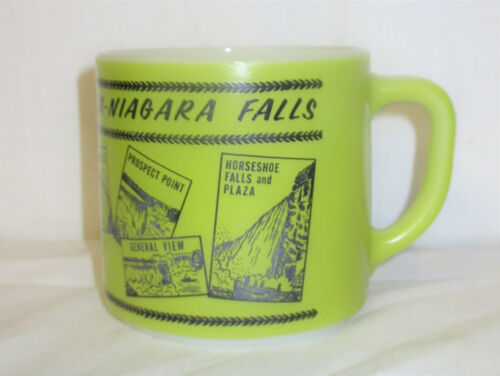 Vintage Federal Glass Coffee Cup Mug Niagara Falls Canada Green Color
