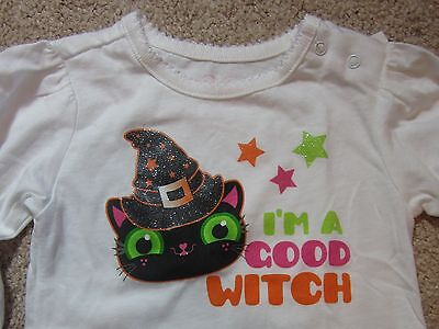 NEW Baby's 1st First Halloween Costume White Good Witch Cat Onesie Size 3-6 Mos