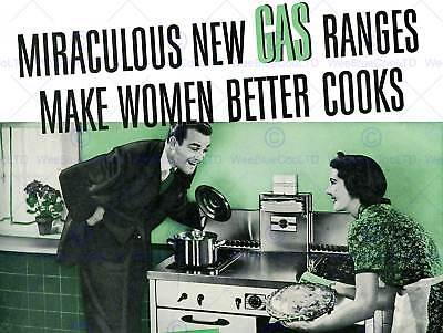 ADVERT GAS RANGE WOMEN BETTER COOK SEXIST STOVE ART PRINT POSTER