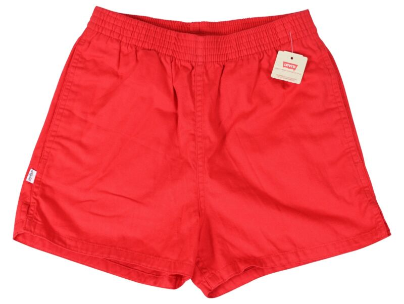 "New VTG 80s LEVIS Red SHORT SHORTS 30"" Waist Youth Large Adult Small NWT NOS"