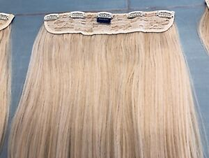 """Blonde Highlighted Clip in Hair Extensions 16"""""""