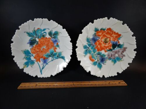 Pair Asian Japanese Meissen Style Porcelain Footed Plates Scalloped Rim Unmarked