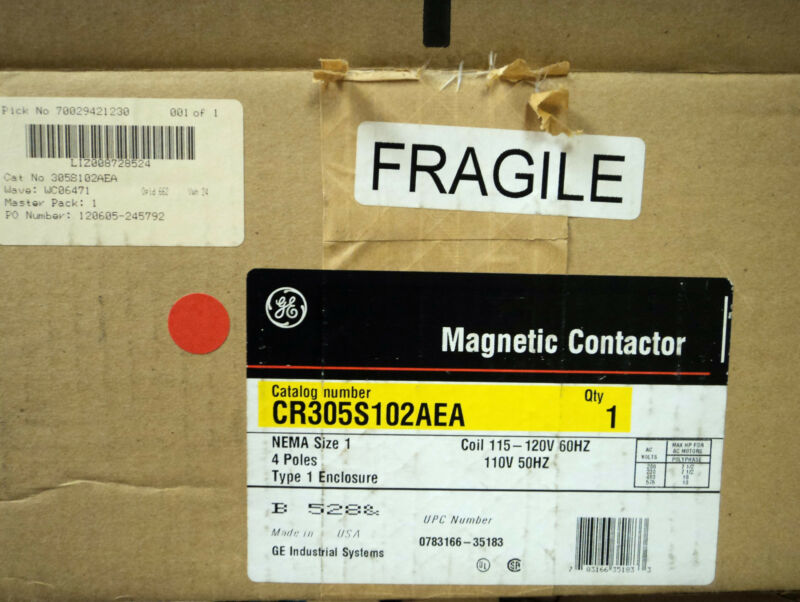 GE Industrial CR305S102AEA Magnetic Contactor Size1 27A 4P NEMA1 120V Coil NEW