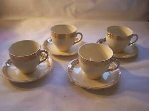 Alfred Meakin Cream & Gold Tea Cup & Saucer x 4 Shabby Chic High Wynyard Waratah Area Preview