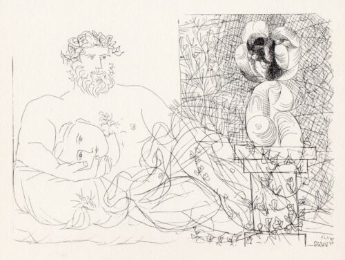 Pablo Picasso, Sculptor and His Model with a Bust on a Column, Vollard Suite