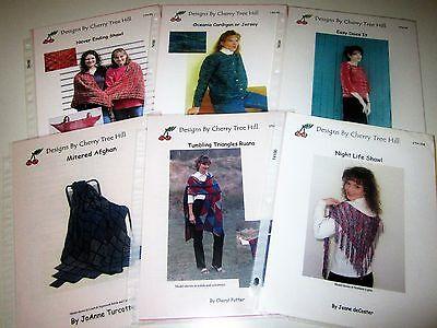 LOT of 6 knitting yarn patterns SHAWLS RUANA CARDIGAN AFGHAN by CHERRY TREE (Cherry Tree Hill Yarn Patterns)