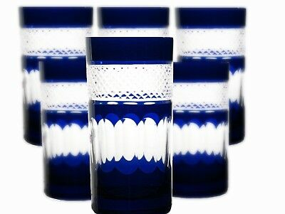 Bleikristall Römer Trink Gläser 6 St.(283 OBG-B) blaue Bleikristall Wassergläser