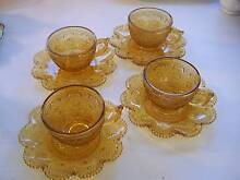 1970's Patterned  Amber Glass Tea Cup & Saucer x4 CAN POST Wynyard Waratah Area Preview