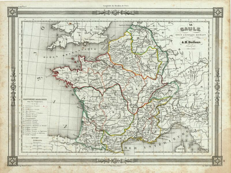 1852 Dufour Map of France in Antiquity  or Gaul