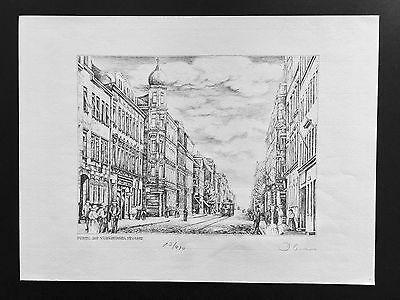 Fürth, Nürnberger Strasse, Grafik/Zeichnung limitiert, 30 x 40 cm, handsigniert