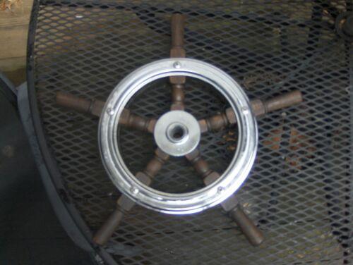 "Vtg Ship 17"" Steering Wheel Wood & Chrome Nautical Maritime Antique PERKO?"