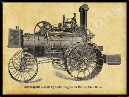 Minneapolis Threshing Machine Co New Metal Sign: Double Cylinder Engine