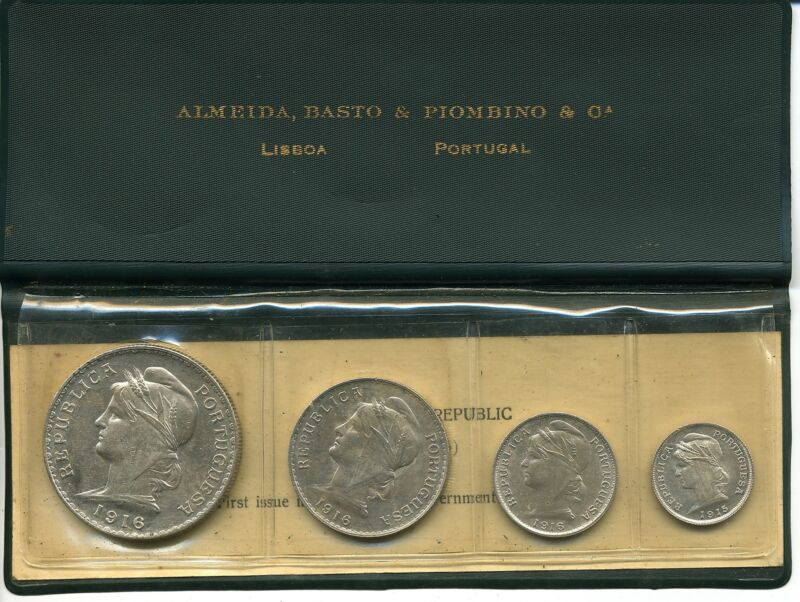 Portugal First Issue in Silver 1915-1916 Four-Coin Set