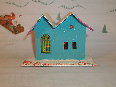 Vintage Christmas Paper PUTZ HOUSE Blue & Pink Made in JAPAN C597