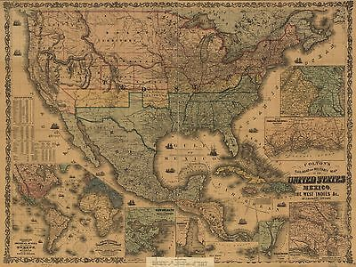 1862  Coltons Map Of America  United States   Old Map Print