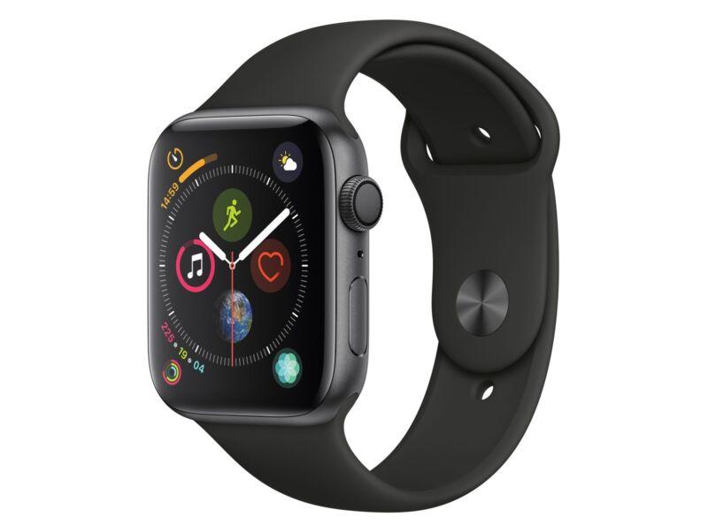 Apple Watch Series 4,44 mm, Aluminiumgehäuse space grau, Sportarmband schwarz