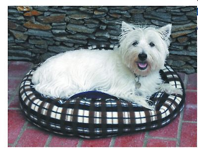 "23"" Round Blue Plaid Pet Dog & Cat Bed Mat Soft Warm Comfy Fleece & Polyester"