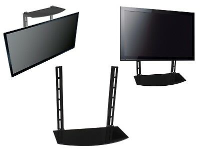 Glass Shelf Above Below Under TV Wall Mount Bracket Component Cable Box DVR DVD