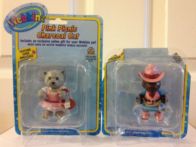 WEBKINZ LOT OF 2 PVC CAKE TOPPERS PINK PICNIC CHARCOAL CAT  & COWGIRL CLYDESDALE
