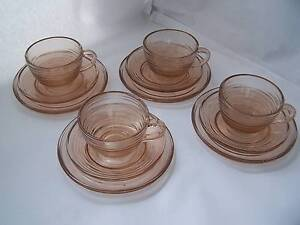 Retro Peach Colour Glass Trio x 4 Trios  Art Deco 1970's  England Wynyard Waratah Area Preview