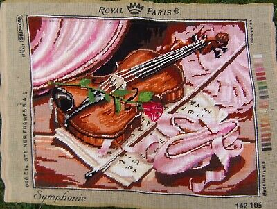 Tapestry Vintage French Violin Symphonie Completed Needlepoint canvas 47 cm X 37