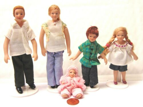1:12 Scale Modern Family Of 5 People Tumdee Dolls House Nursery Accessory DP122