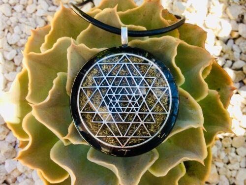 Orgone Pendant Necklace Sacred Geometry Sri Yantra & Shungite EMF PROTECTION USA