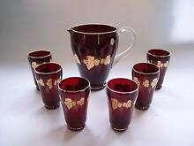 Retro Bohemia Red Glass Jug Set 6 x Glasses CAN POST 1970's Wynyard Waratah Area Preview