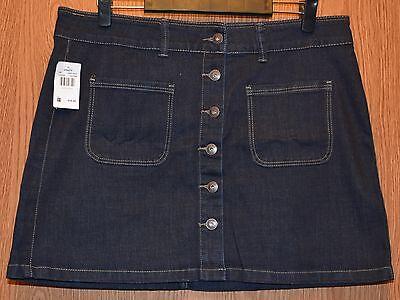 Womens Short Dark Denim Vanity Flat Front Skirt Size 30 NWT (Flat Front Vanity)