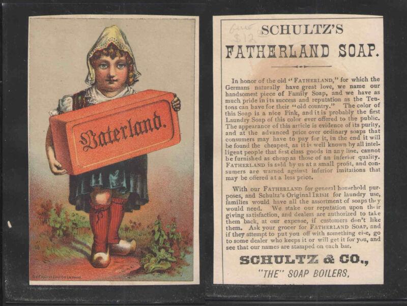 1890s VATERLAND FATHERLAND SOAP SCHULTZ & CO VICTORIAN TRADE CARD