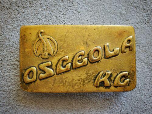 Rare Vintage Osceola Missouri Boy Scout Camp Flat Brass Belt Buckle