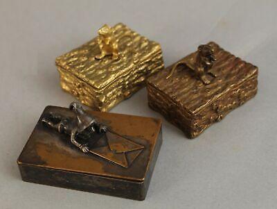 3 Antique c1900 Austrian Bronze Figural Gnome & Mouse Stamp Boxes NO RESERVE
