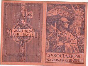 tessera epoca fascista associazione combattenti Milano 1934 - Italia - tessera epoca fascista associazione combattenti Milano 1934 - Italia